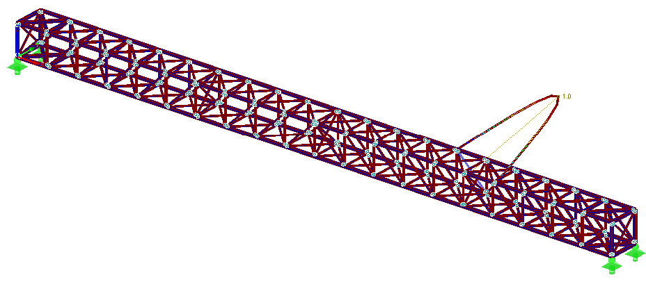 First eigenmode of a 3D truss