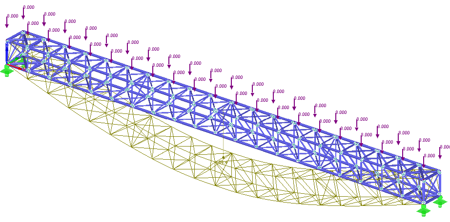 Linear static calculation of a 3D truss (linear FEA)