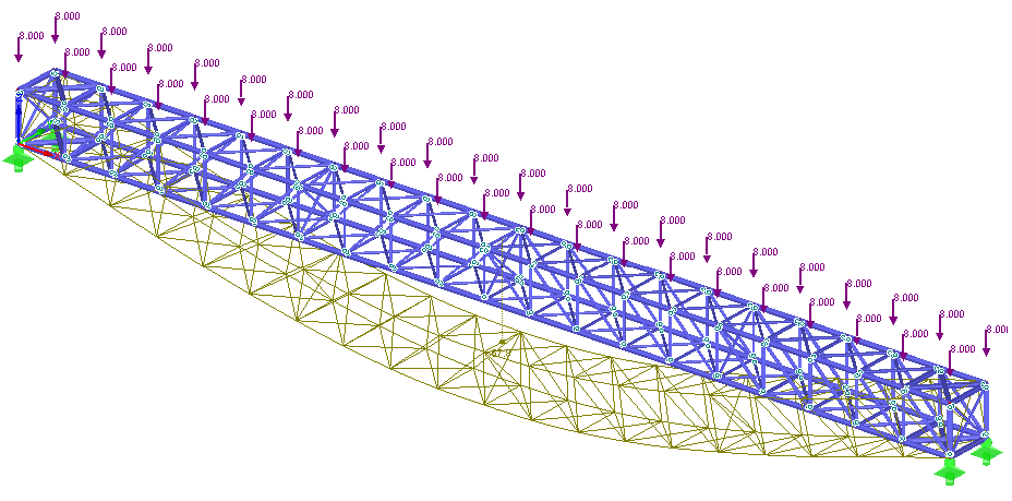 Geometrically nonlinear analysis of a 3D truss